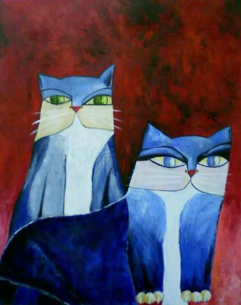 Aldemir Martins 2 gatos azuis