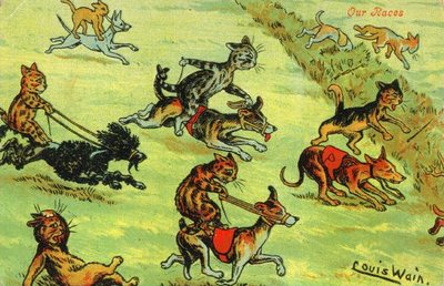 Louis Wain Cat Postcard Horse Racing