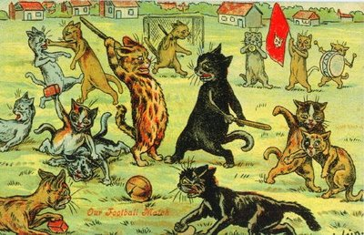 Louis Wain cat Postcard Football