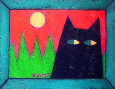 Black-cat-landscape-painting-red-background-pets-animals-contemporary-folk-art-BZTAT-LR1