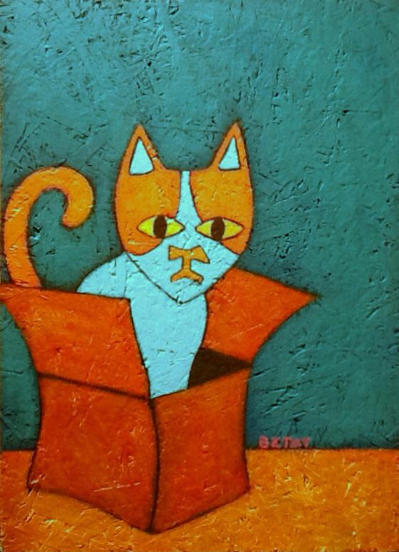 Brewskie_Butt_cat_in_box_whimsical_painting_BZTAT