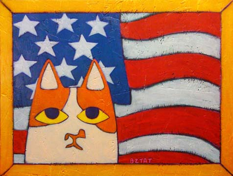 brewskie-butt-ginger-white-cat-patriotic-flag-folk-art-painting-bztat-lr